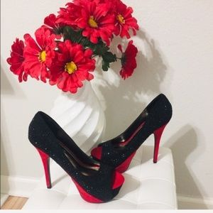 💥New Liliana Black and Red Peep Toe Heels